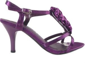 Fioletowe sandały Kokietki na wysokim obcasie