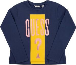 Granatowa bluzka dziecięca Guess z długim rękawem