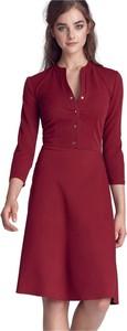 Czerwona sukienka Nife z długim rękawem z dekoltem w kształcie litery v