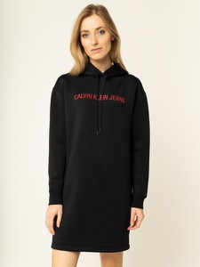 Czarna sukienka Calvin Klein w stylu casual mini z długim rękawem
