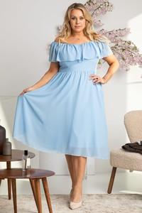 Niebieska sukienka KARKO z szyfonu hiszpanka dla puszystych