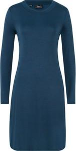 Niebieska sukienka bonprix bpc bonprix collection midi z długim rękawem
