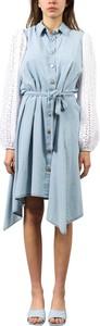 Sukienka Giulia N Couture midi z kołnierzykiem koszulowa