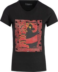 Czarny t-shirt Guess z okrągłym dekoltem z nadrukiem z krótkim rękawem