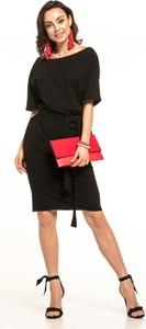 Czarna sukienka Tessita z bawełny w stylu casual z krótkim rękawem