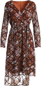 Brązowa sukienka Multu midi z dekoltem w kształcie litery v w stylu casual