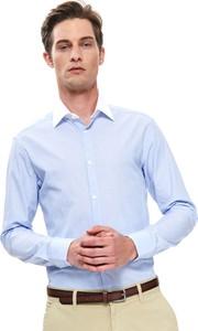Niebieska koszula Top Secret z tkaniny z klasycznym kołnierzykiem z długim rękawem