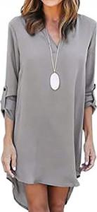 Sukienka Snm mini z długim rękawem asymetryczna