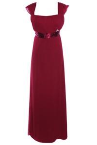 Czerwona sukienka Fokus z szyfonu z przeźroczystą kieszenią
