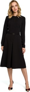 Czarna sukienka Merg midi z okrągłym dekoltem z długim rękawem