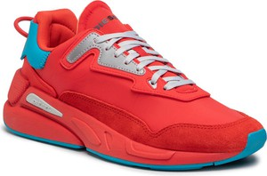Czerwone buty sportowe Diesel sznurowane