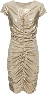 Złota sukienka bonprix BODYFLIRT boutique z krótkim rękawem