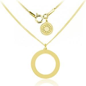 Lian Art Srebrny naszyjnik z kołem - 24k złocenie
