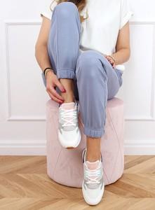 Niebieskie buty sportowe Buty Damskie z tkaniny z płaską podeszwą