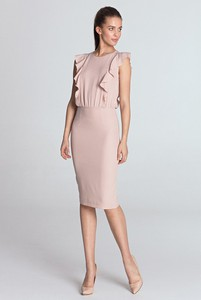 Różowa sukienka Merg midi bez rękawów ołówkowa