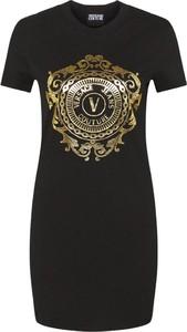 Czarna sukienka Versace Jeans mini z okrągłym dekoltem