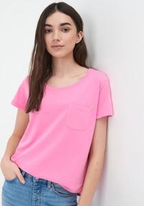 Różowy t-shirt Sinsay w stylu casual z krótkim rękawem