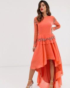 Różowa sukienka Lace & Beads z okrągłym dekoltem