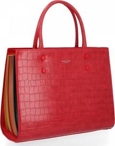 Czerwona torebka David Jones w stylu glamour ze skóry ekologicznej na ramię