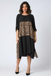 Czarna sukienka Plus Size Company z okrągłym dekoltem midi oversize