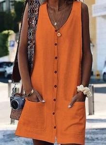 Brązowa sukienka Cikelly mini z dekoltem w kształcie litery v