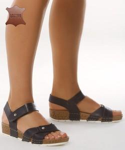 Granatowe sandały born2be z płaską podeszwą w stylu casual