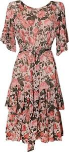 Sukienka TOVA z okrągłym dekoltem z krótkim rękawem midi