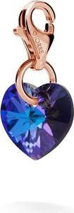 GIORRE SREBRNY CHARMS KRYSZTAŁ SERCE SWAROVSKI 925 : Kolor kryształu SWAROVSKI - Crystal HEL, Kolor pokrycia srebra - Pokrycie Różowym 18K Złotem