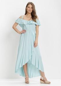 Niebieska sukienka born2be maxi z dekoltem w kształcie litery v