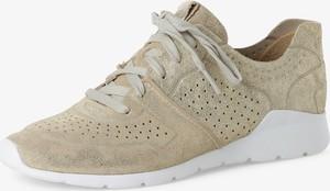 Złote buty sportowe UGG Australia z płaską podeszwą ze skóry