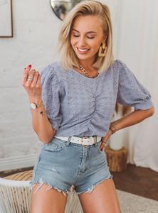 Fioletowa bluzka SELFIEROOM w młodzieżowym stylu z krótkim rękawem