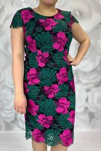 Sukienka Dorota z okrągłym dekoltem z tkaniny