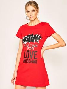 Sukienka Love Moschino z okrągłym dekoltem z krótkim rękawem
