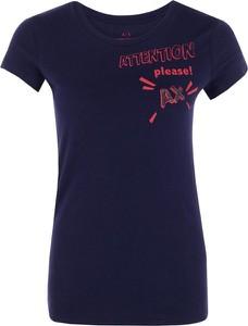 Niebieski t-shirt Armani Jeans z okrągłym dekoltem