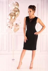 Czarna sukienka MERRIBEL dopasowana w stylu casual z okrągłym dekoltem