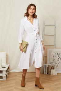 Sukienka Rodier Lin z dekoltem w kształcie litery v w stylu casual z długim rękawem