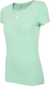 Zielony t-shirt Outhorn z bawełny z okrągłym dekoltem w sportowym stylu