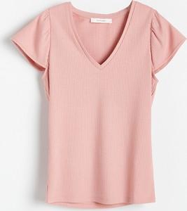 Różowa bluzka Reserved z krótkim rękawem w stylu casual z dzianiny