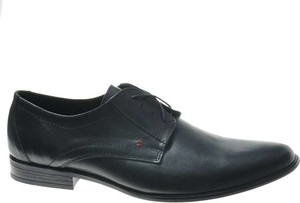 Czarne półbuty Pantofelek24 sznurowane ze skóry