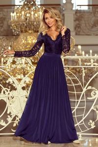 Sukienka Moda Dla Ciebie z dekoltem w kształcie litery v z długim rękawem maxi
