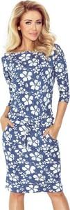 Niebieska sukienka NUMOCO midi z długim rękawem