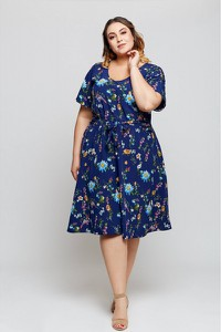 Niebieska sukienka Grandio w stylu casual z krótkim rękawem