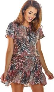 Sukienka Awama mini z dekoltem w kształcie litery v z krótkim rękawem