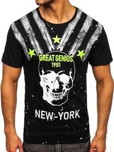 Czarny t-shirt Denley z bawełny z nadrukiem