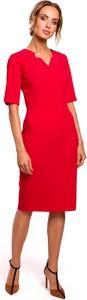 Sukienka MOE dopasowana z dekoltem w kształcie litery v midi