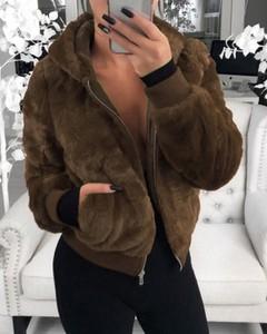 Kendallme Płaszcz ze sztucznego futra z kieszeniami na suwak kurtka khaki