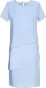 Niebieska sukienka Fokus z krótkim rękawem w stylu boho mini