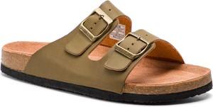 Zielone buty letnie męskie Big Star z klamrami w stylu casual ze skóry ekologicznej