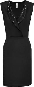 Czarna sukienka bonprix BODYFLIRT boutique z kołnierzykiem bez rękawów