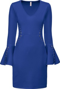 Sukienka bonprix BODYFLIRT boutique dopasowana midi z długim rękawem